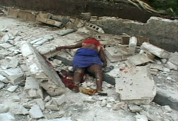 Video grab of the body of an earthquake victim in Port-au-Prince