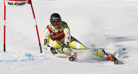 Haugen of Norway skis during the first leg in the Men's World Cup Slalom skiing race in Val d'Isere