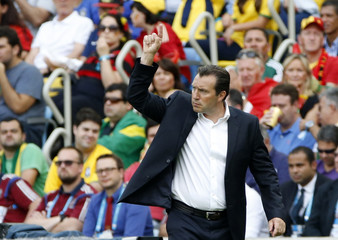 Belgium's coach Marc Wilmots gestures during their 2014 World Cup Group H soccer match against Russia at the Maracana stadium in Rio de Janeiro