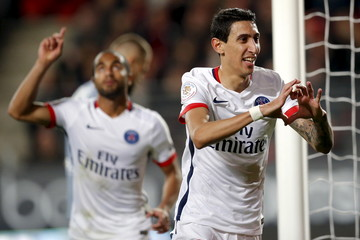 Paris St Germain's Di Maria celebrates after scoring against Stade Rennes during their French Ligue 1 soccer match at the Roazhon Park stadium in Rennes