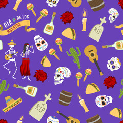 Dia de los muertos day of the dead vector seamless patetrn