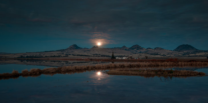 Sutter Buttes Mountain Range with moonset
