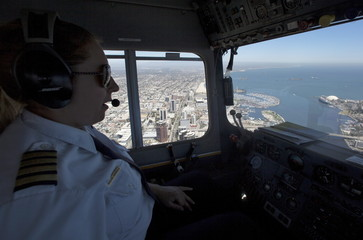 "Blimp Pilot Kristen Arambula flies the Goodyear blimp "" Spirit of America"" over Long Beach, California"