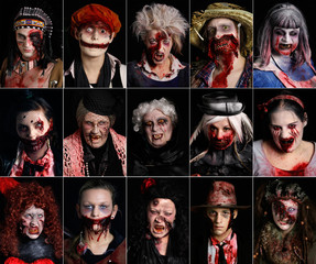 "A combination of photos shows costumed performers for the ""Halloween Horror Party 2012"" at the Movie Park Germany in the western city of Bottrop"