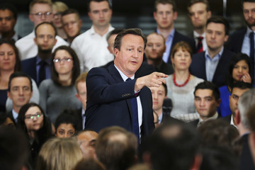 Britain's Prime Minister David Cameron holds a Q&A session on the forthcoming European Union referendum with staff of PricewaterhouseCoopers in Birmingham