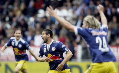 Red Bull Salzburg's Wallner reacts after scoring their second goal during their Austrian league soccer match against Sturm Graz in Graz