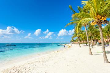 Fototapeten Strand Akumal beach - paradise bay Beach in Quintana Roo, Mexico - caribbean coast