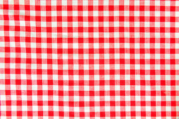 close macro view of red and white vichy pattern