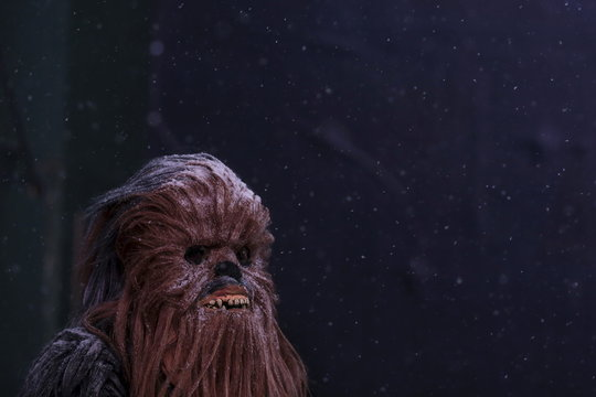 "A man dressed as Star Wars character ""Chewbacca"" stands as it begins to snow in Times Square in the Manhattan borough of New York"