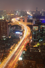 Aerial photography at Shanghai City buildings of night
