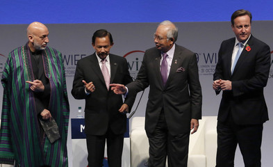 Afghanistan's President Karzai, Brunei's Sultan Bolkiah, Malaysia's PM Razak and Britain's PM Cameron gesture during a family photo at the World Islamic Economic Forum in London