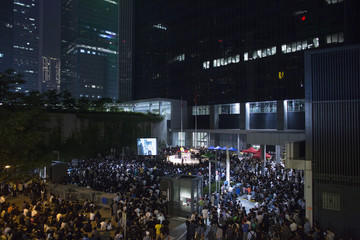 Protesters rally against the government's decision to not award a free-to-air broadcast licence to HKTV in Hong Kong