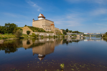Medieval fortress on the river Narva, Estonia and Russia border. Summer day view.