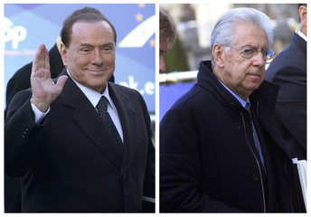 Combination picture shows Italy's former Prime Minister Berlusconi and Italy's Prime Minister Monti arriving for meeting of EPP in Brussels