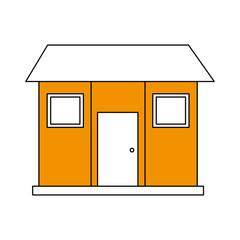 color silhouette image facade comfortable house vector illustration