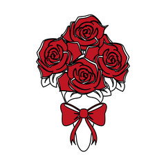 color silhouette image wedding bouquet of red roses with bow vector illustration