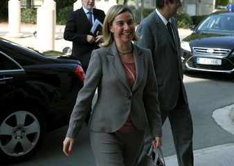 European Union foreign policy chief Federica Mogherini arrives  at the Ministry of Foreign Affairs  in Nicosia