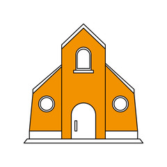 color silhouette image yellow church building vector illustration