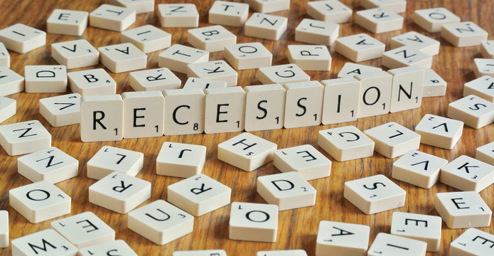 The word recession, made from letters of a scrabble game, is seen in this illustration picture taken in Ljubljana
