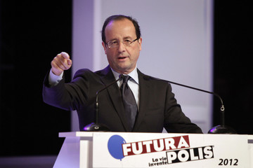French Socialist presidential candidate Hollande delivers a speech during the Futurapolis forum in Toulouse
