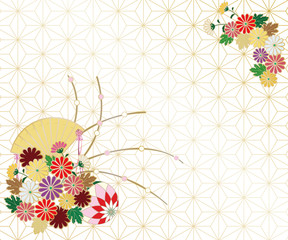 Background image of chrysanthemum, folding fan and Japanese pattern