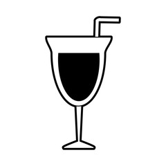 sketch silhouette image glass cup of cocktail with straw vector illustration