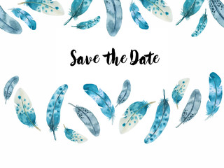 watercolor horizontal feather border save the date on white background