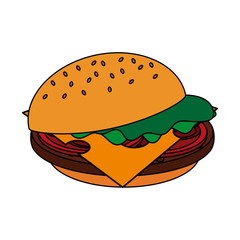 color image cartoon hamburger fast food vector illustration