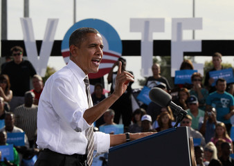 U.S. President Obama speaks in a campaign rally in Las Vegas