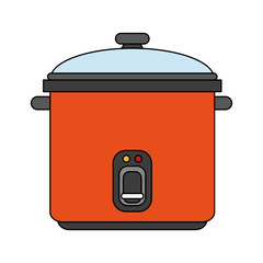 color image cartoon rice electric cooker vector illustration
