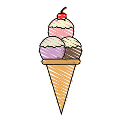 color crayon stripe cartoon ice cream cone with three balls and cherry vector illustration