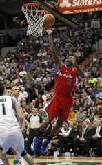 L.A. Clippers guard Crawford scores during the second half of their NBA basketball game against the Minnesota Timberwolves in the Target Center in Minneapolis