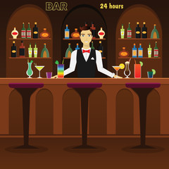 Bar, pub interior flat vector illustration with glasses, bottles, cocktails and wine. Man bartender at the bar with alcohol dreenks.