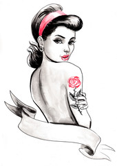 Pinup beauty with a rose tattoo