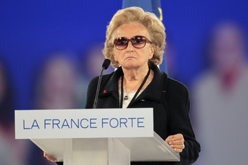 Bernadette, wife of former President Chirac, delivers a speech during a campaign rally for France's President Sarkozy in Villepinte