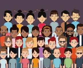 character people multiethnic community portrait vector illustration