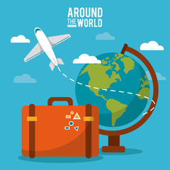 around the world. globe world plane suitcase sky vector illustration