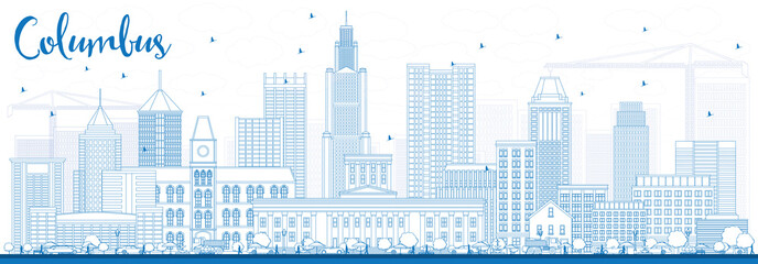 Outline Columbus Skyline with Blue Buildings.