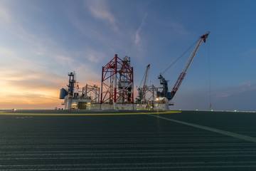 offshore drilling rig at twilight