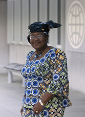 World Bank presidential nominee Okonjo-Iweala of Nigeria leaves after an interview in Washington