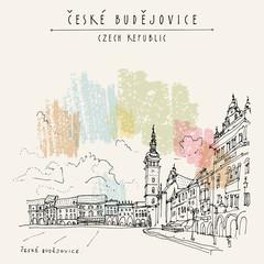 Ceske Budejovice, Czech Republic, Europe. European cityscape. Travel hand drawn vintage touristic postcard