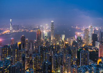 Hong Kong skyline and victoria harbour View from Victoria Peak,Hon Kong.