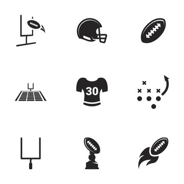 Icons for theme American football , vector, icon, set. White background