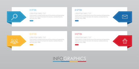 Modern Info-graphic Template for Business with four steps multi-Color design, labels design, Vector info-graphic element, Flat style vector illustration.