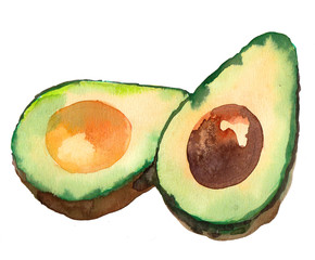 Watercolor avocado