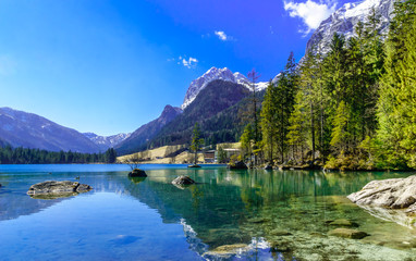View on mountain landscape and Hintersee by Ramsau in Bavaria Wall mural