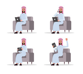 Set of Arab business man using device on sofa. flat character design. vector illustration