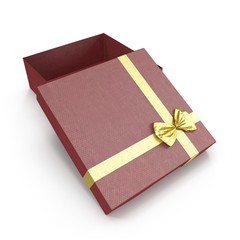 Red gift-box with yellow ribbon bow on white. 3D illustration