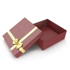 Present box with yellow overwhelming bow on white. 3D illustration