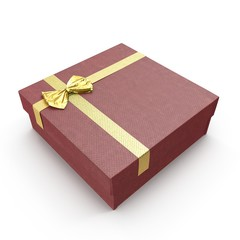 Isolated red gift box on white. 3D illustration